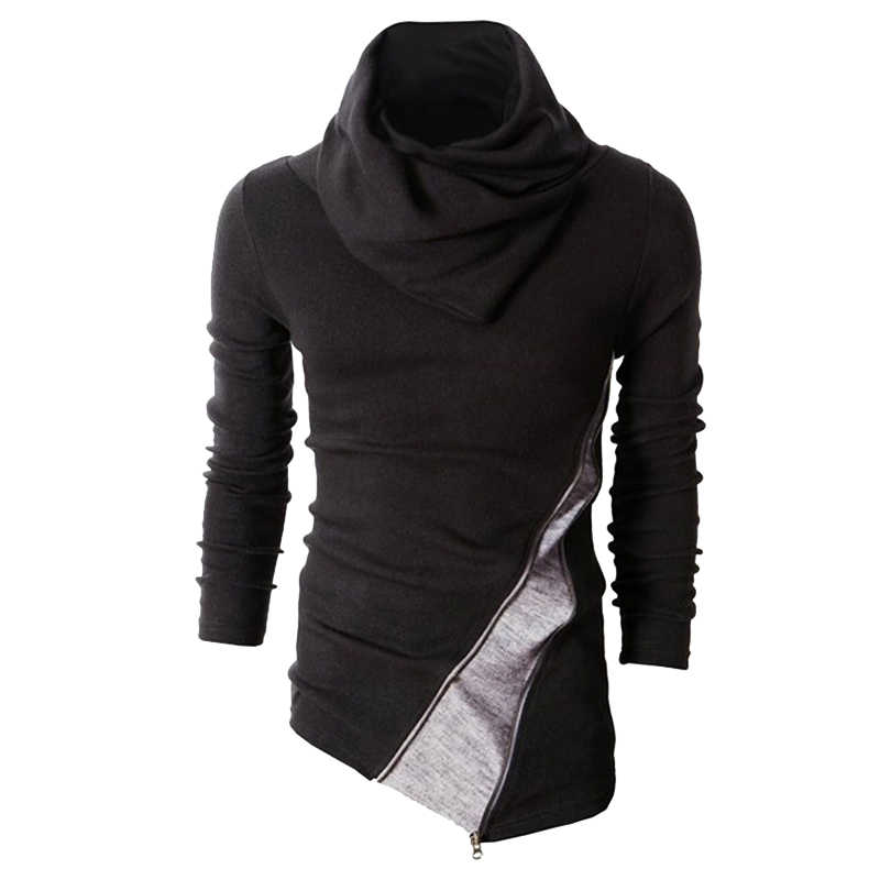 Mens Slim Warm Sweaters Casual Knitted Sweatshirts Long Sleeve Turtleneck Coats Heap Collar Pullover Hit Color Fit Jumper Tops