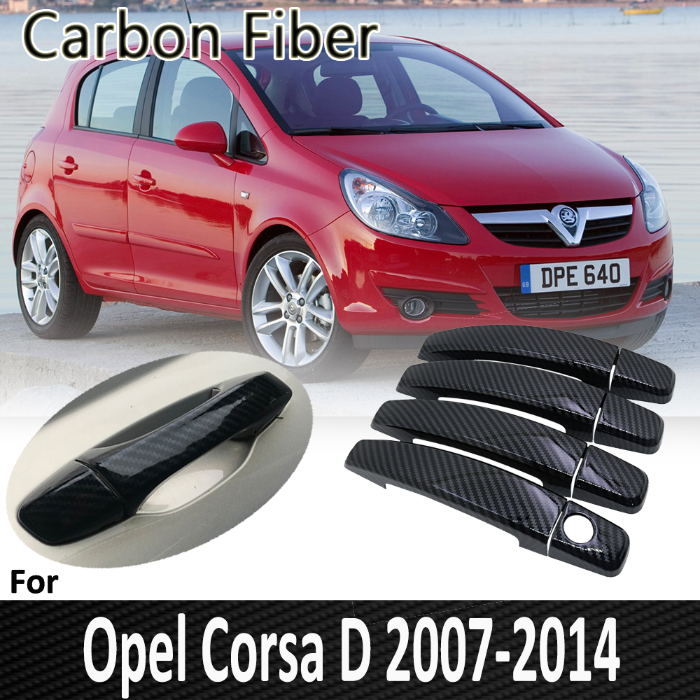Black Carbon Fiber for <font><b>Opel</b></font> <font><b>Corsa</b></font> <font><b>D</b></font> 2007 <font><b>2008</b></font> 2009 2010 2011 2012 2013 2014 Vauxhall Door Handle Cover Sticker Car Accessories image
