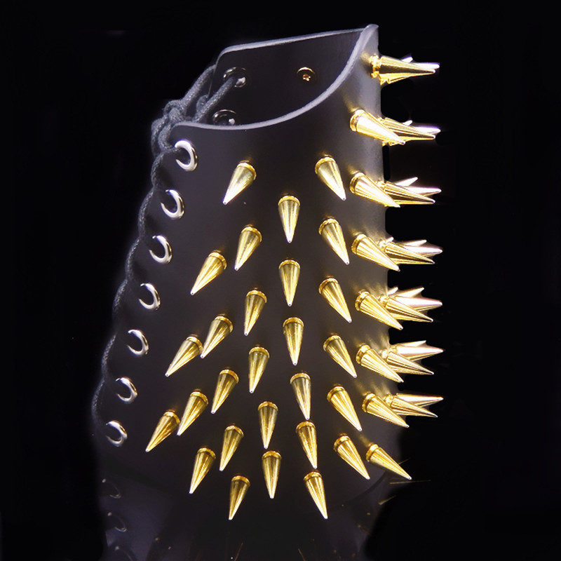 Men Long Rivet Leather Armor Punk Rock PU Leather Gauntlet Women Gothic Vintage Protector Cosplay Accessories