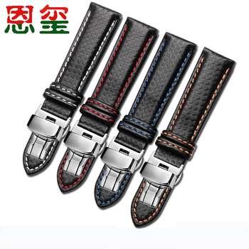 Carbon fiber watchband 16 18 20 22 24mm black with white red blue orange line strap For men and women watch accessories