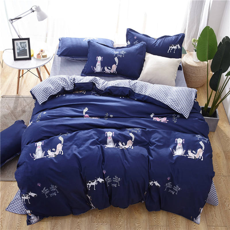 Plaid Owl Print Cotton Bedding Sets Queen Size Bed Linen Bed Duvet Cover Stripe Bedding Set Bed Sheets Pillow Cases Home Textile in Bedding Sets from Home Garden