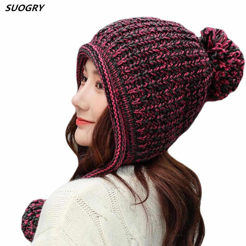 SUOGRY ผู้หญิงสายเปรูหมวกขนสัตว์ฤดูหนาวหมวกหมวกกับ Earflap Pom หมวก