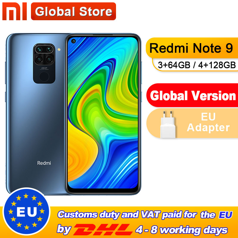 Global Version Xiaomi Redmi Note 9 3GB 64GB/4GB 128GB Smartphone MTK Helio G85 Octa Core 48MP Quad Rear Camera 6.53\