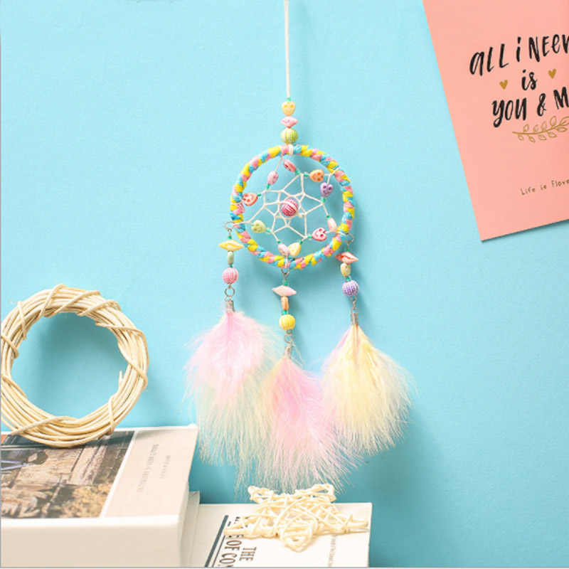 Ins Style Bright Pink Dreamcatcher Accessory Feather Car Mirror Hanging Pendant For Girls Room Decor Wind Chimes Friends Gifts