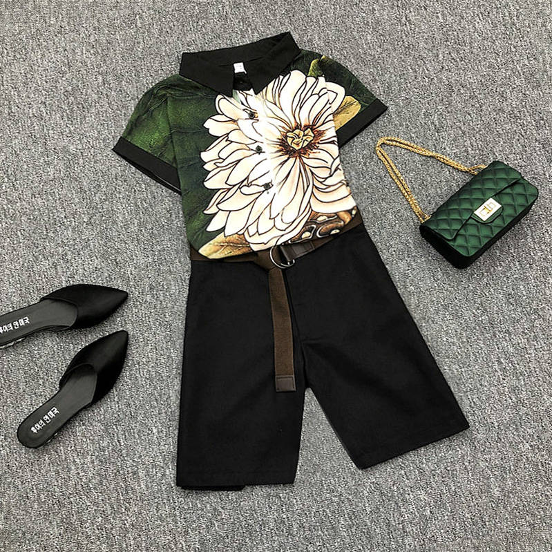 With Belt! Plus Size Women's Summer Casual Pants Sets Vintage Print Ladies Nice Short Sleeved Blouses+Shorts Pants Suits NS955