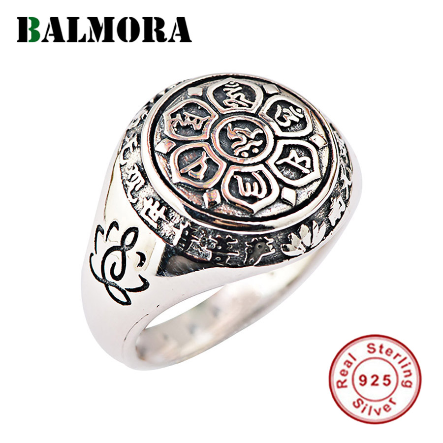BALMORA Real 925 Sterling Silver Buddhism Retro Spinner Stacking Rings For Women Men Couple Six Words' Mantra Fashion Jewelry