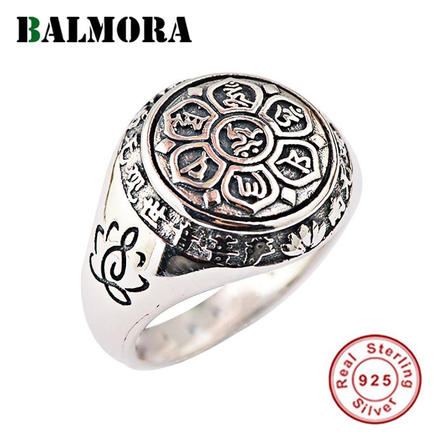 BALMORA Vintage Real de 100% 925 Sterling Silver Jóias Budista Seis Palavras' SY20992 Mantra Anéis para Presentes Dos Amantes Dos Homens Das Mulheres