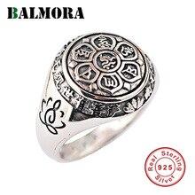 BALMORA anillos de apilamiento para hombres y mujeres, Plata de Ley 925 auténtica, budismo, Retro, Spinner, para parejas, Mantra de seis palabras, joyería
