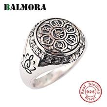 """BALMORA prawdziwe 925 Sterling Silver buddyzm Retro Spinner pierścienie do układania dla kobiet mężczyzn para sześć słów """"Mantra biżuteria"""