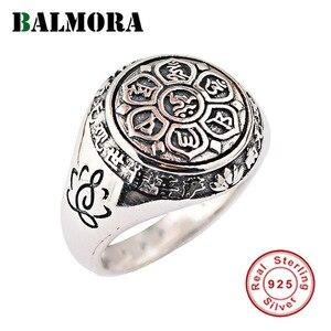 Image 1 - Balmora リアル 925 スターリングシルバー仏教レトロスピナーリング女性男性カップル 6 words マントラファッションジュエリー