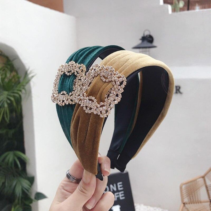 Vintage Bohemian  Velvet Headband With Metal Rhinestone Hairband Hair Accessories