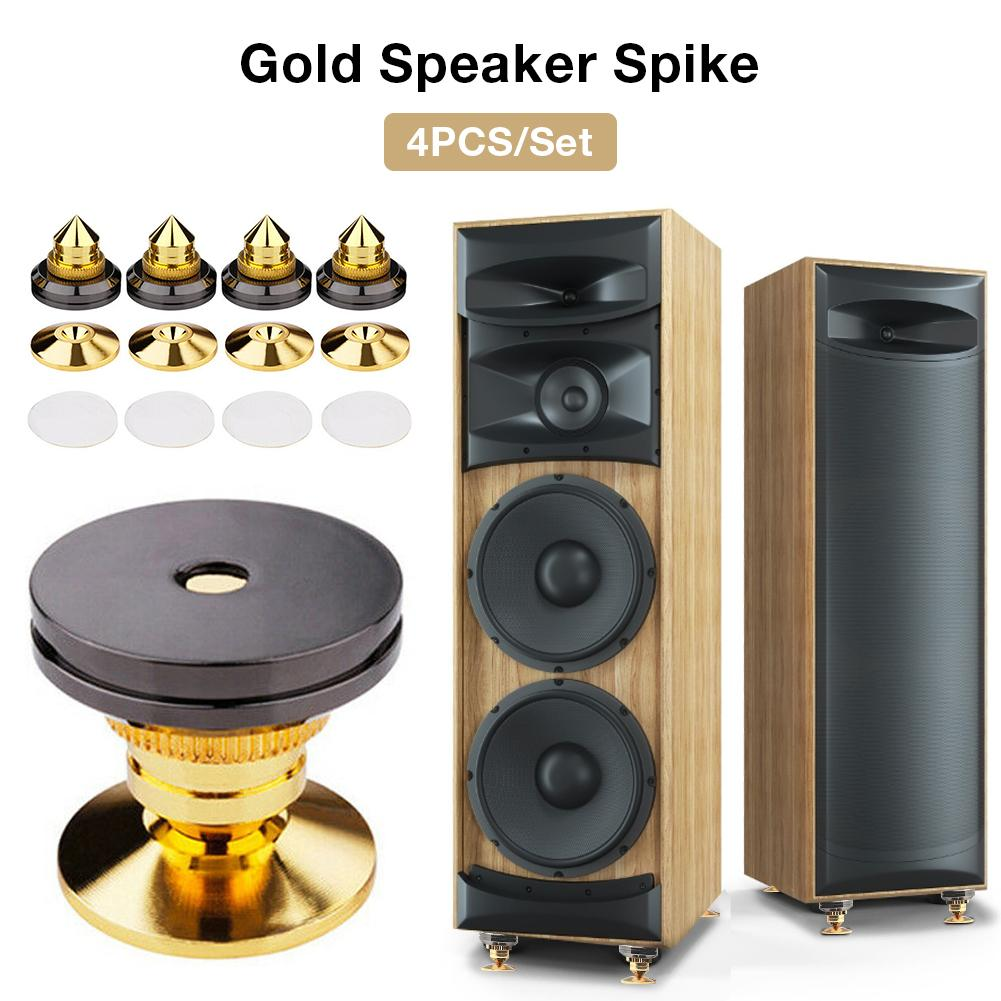 4PCS/Set Speakers Stand Feet Foot Pad Spikes Pure Copper Gold Loudspeaker Box Spikes Cone Floor Foot Nail M28*28