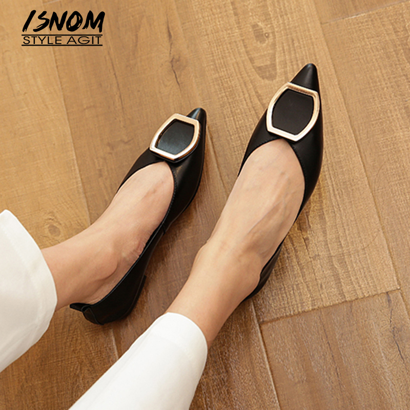 ISNOM Squre Button Leather Flats Pointed Toe Boat Shoes Soft Leather Cow Leather Women Flat Shoes 2020