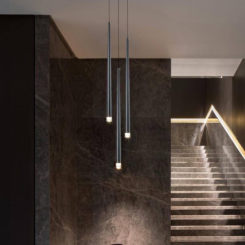 Led longo downlight lustre individual criatividade moderna sala de jantar lustre luz da escada cozinha lustre barra