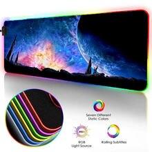 Xgz звездное небо Луна Пейзаж большой коврик для мыши rgb игровой