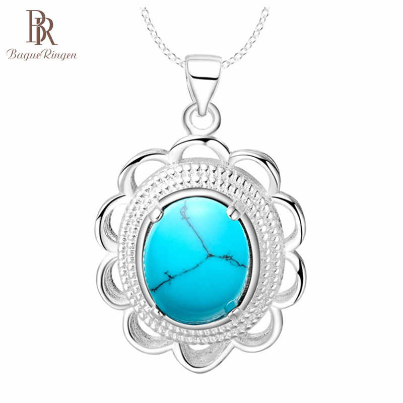 Bague Ringen Flower shaped Silver 925 Gemstones Necklace for Women Turquoise Pendant Individual Character Jewelry Wholesale Gift