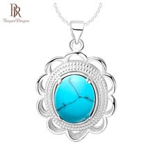 Bague Ringen Flower shaped Silver 925 Gemstones Necklace for Women Turquoise Pendant Individual Character Jewelry Wholesale Gift(China)
