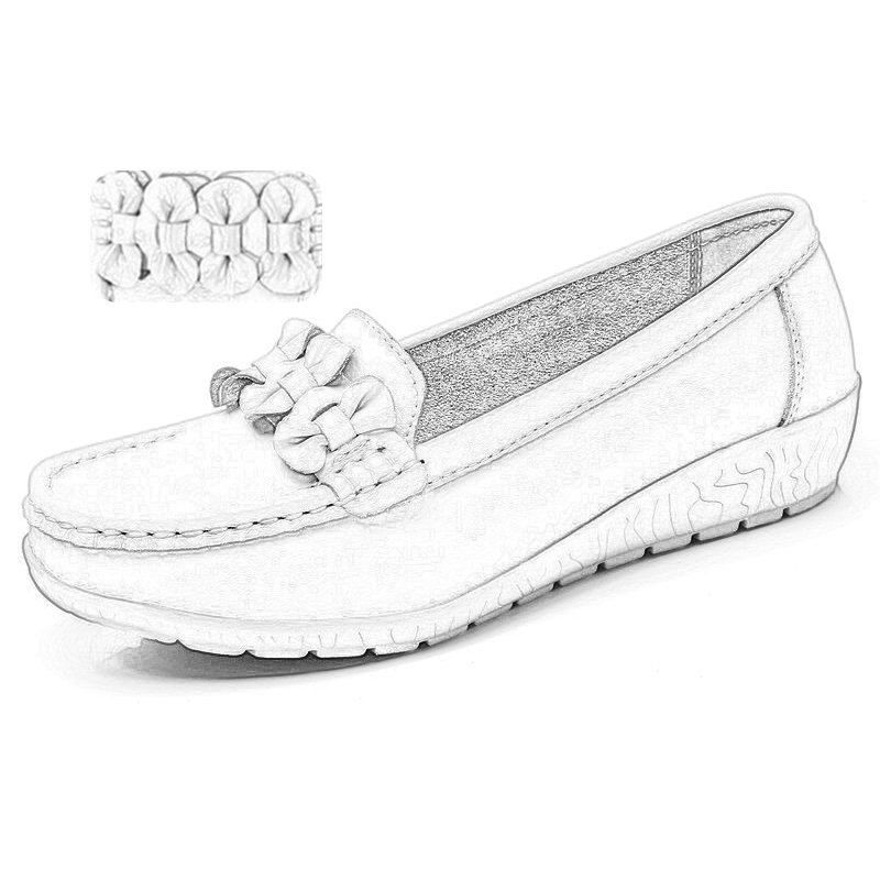 Image 5 - 2020 Women Loafers Genuine Leather Flat Shoes Ballet Flats Slip On Female Moccasins Casual Dress Shoe Peas Extra Wide ShoesWomens Flats   -