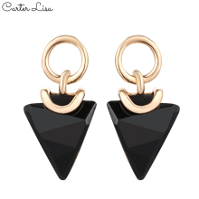 CARTER LISA Korean Charm Geometric Faced Triangle Black Crystal Dangle Drop Earrings For Women Statement Earings Fashion Jewelry керамическая плитка impronta beige experience wall royal beige living lap 60х60 напольная