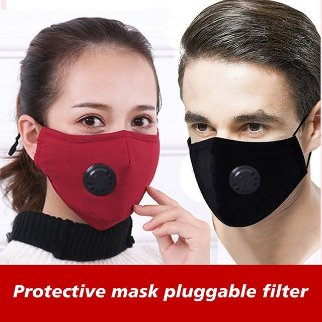 1PC PM2.5 Cotton Respirator Breathable Valve Mask Insertable Filter High Efficiency Filtration Breathable Send One Filter 4