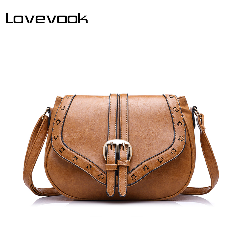 LOVEVOOK Brand Women Messenger Bag Female Hollow Out Saddle Bag PU Fashion Ladies Shoulder Bag Women Crossbody Bags Small Purses