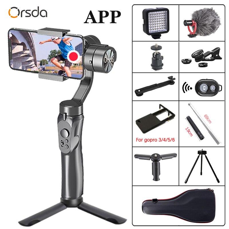 Orsda app h4 3-axis cardan estabilizador gopro câmera estabilizador shandheld selfie vara tripé para conexão smartphone bluetooth