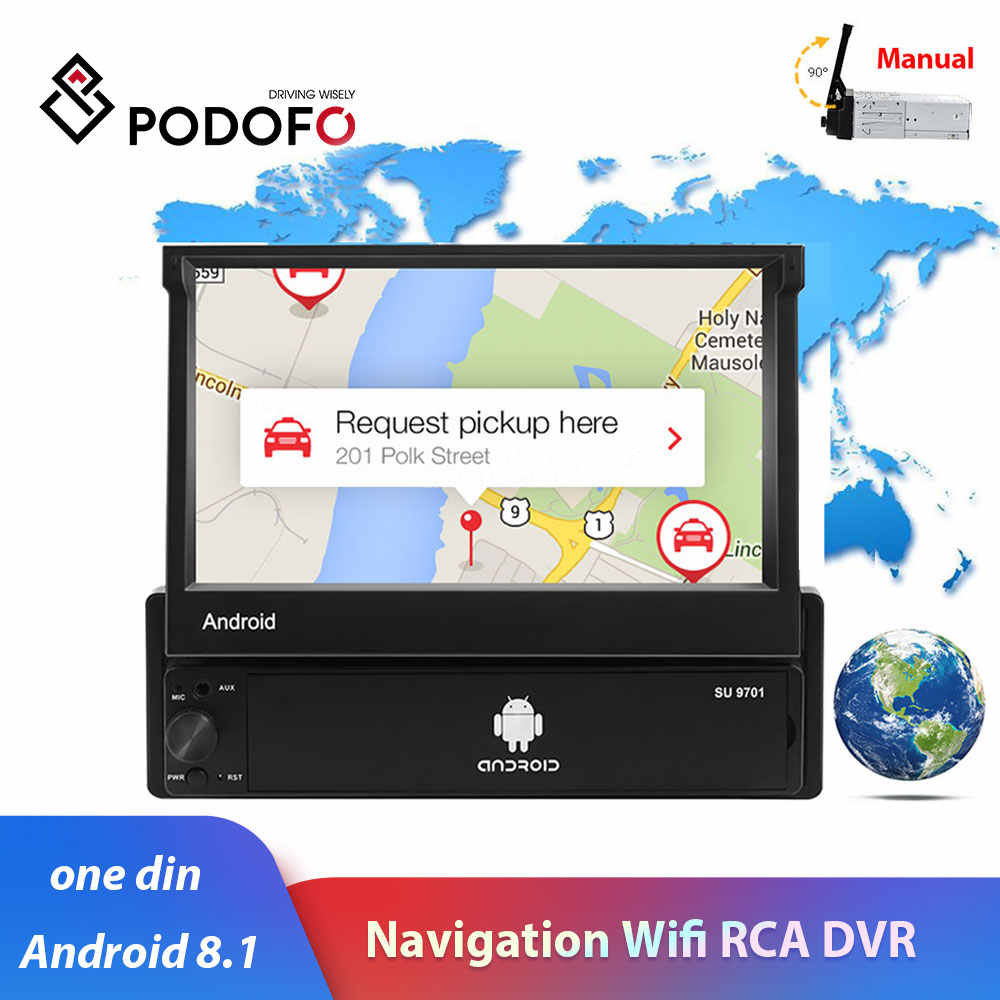 "1din car radio Podofo 7"" Android 8.1 1080P Touch Screen auto radio GPS navigation WiFi mirror link for universal 1Din car stereo"