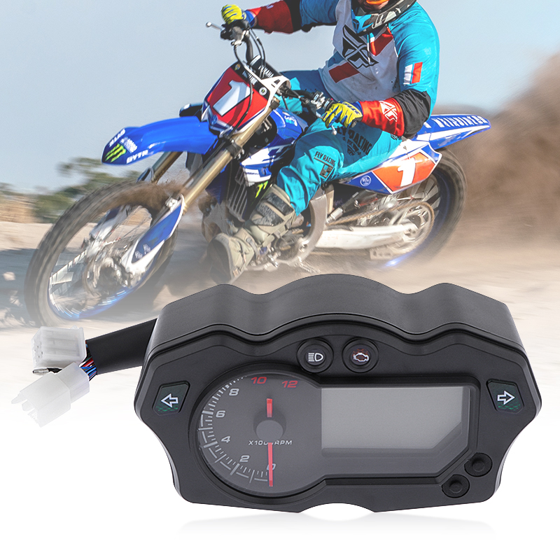 Motorcycle Speedometer LCD Digital 12000RPM Speedometer Odometer Tachometer Gauge Universal For ATV Quad Motorbike 7 Colors