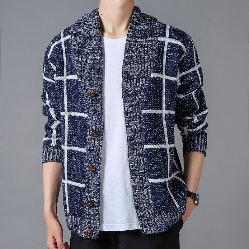 2019 Brand New Men's Sweater Knitting Men Long Sleeve Plaid Pullovers Slim Fit V-neck Coat Hooded Men Cardigan Sweater Clothes