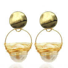 Earrings ladies handmade pearl crystal fashion copper wire Boucles doreilles accessories ear oorbellen jewelry accessori