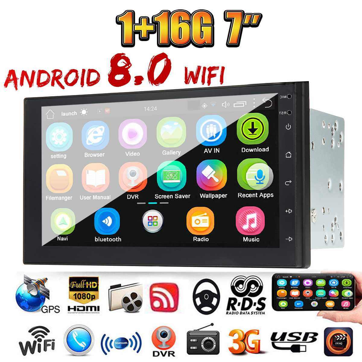 7 Inch 2 Din for Android 8.0 Car MP5 Player 2.5D Touch Screen Stereo Radio GPS WIFI bluetooth FM Support Rear Camera FM image