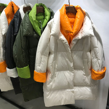 Korean Winter puffer jacket Women down Coat 2020 Fashion Winter New White Duck Down Scarf Long Loose Plus Size Thick Coat YRF262