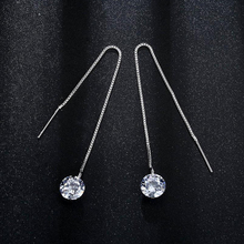 Silver 925 Jewelry Tassels Diamond Zircon Earrings Sterling for Women Simple Temperament