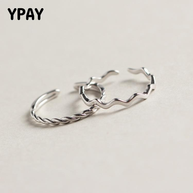 YPAY Pure 100% 925 Sterling Silver Wave Open Rings For Women Personality Simple Style Lady Prevent Allergy Fine Jewelry YMR752
