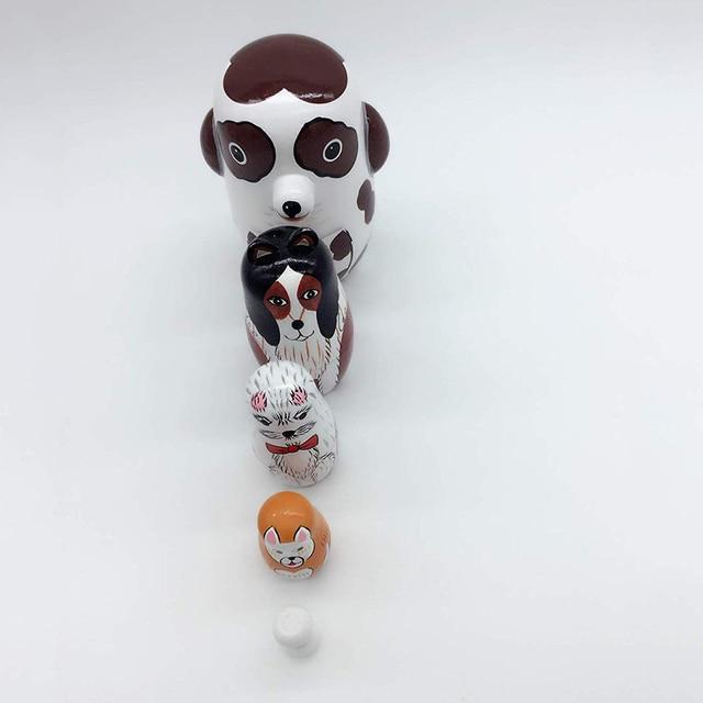 5Pcs/Set Hand Painted Dotted Dog Animal Nesting Dolls Matryoshka Puzzles Assembly Model Figurines Toys 3