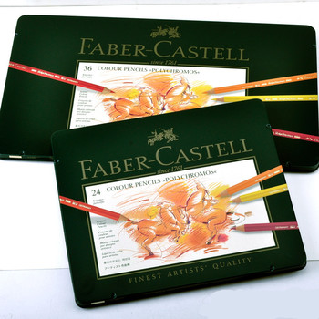 Faber-Castell Green Tin Box Polychromos  Artists' Color Pencil 12/24/36/60/120 Colour Professional  Art Painting Coloring Set