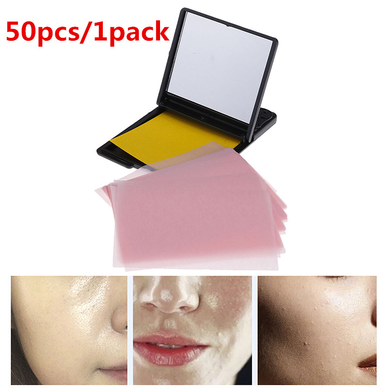 50pcs/1pack Facial Absorbent Paper Oil Control Wipes Protable Green Tea Absorbing Sheet Matcha Oily Face Blotting Matting Tissue