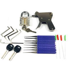 Image 4 - 2PCS Transparent Lock with Lock Tool Gun,12pcs Broken Key Remove Picking Tool Tension Tool,Best Locksmith Tools Practice PickSet