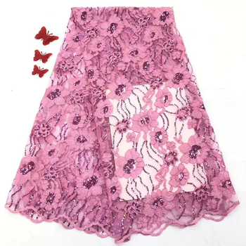 Pink 2019 African lace fabric high quality lace French Nigeria sequin mesh gauze lace fabric clothes FJ3450