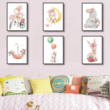 Baby Rabbit Canvas Painting Animal Print Pink Balloon Flower Poster Cartoon Bunny Posters Nursery Wall Art Pictures Room