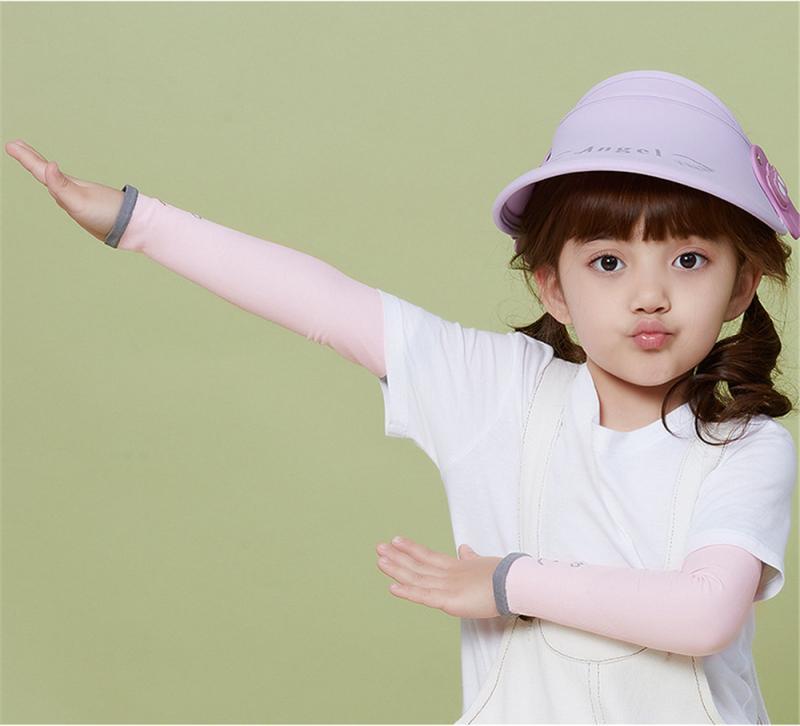 2 pcs/par manga de seda gelo das crianças uv braço capa protetor solar respirável gelo seda verão manga para crianças meninas meninos esporte manguito