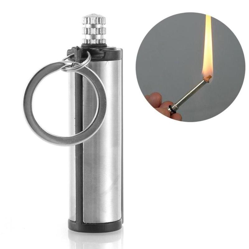 1pc Permanent Lighter Cylindrical Stainless Steel Matches Key Ring Lighter Waterproof Cigarette Accessories Permanent Lighter