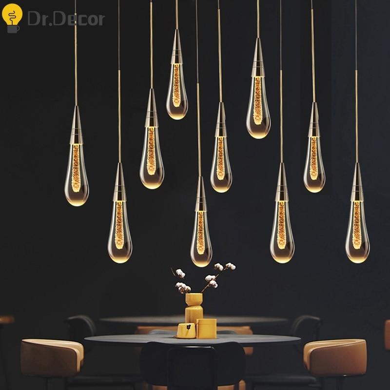 Modern LED Chandeliers Living Room Villa Clothing Indoor Lighting Decor Crystal Chandeliers Lighting Kitchen Loft Hanging Lamp