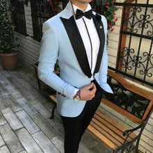 Sky Blue Suits Men Wedding Terno Masculino Man Blazer Costume Homme Prom Groom Tuxedo Black Peaked Lapel Plus Size Man Attire(China)