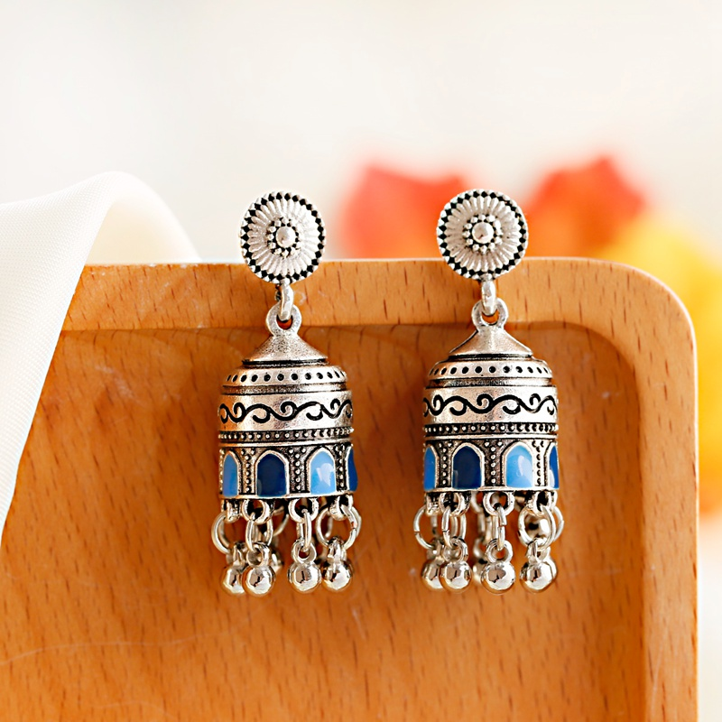 H8209213213d54a94b70c1c73c3c75971h - Retro Bollywood Oxidized Womens Jewellery Ethnic Silver Plated Afghan Bell Tassel Drop Jhumka Indian Earrings Wedding Jewelry