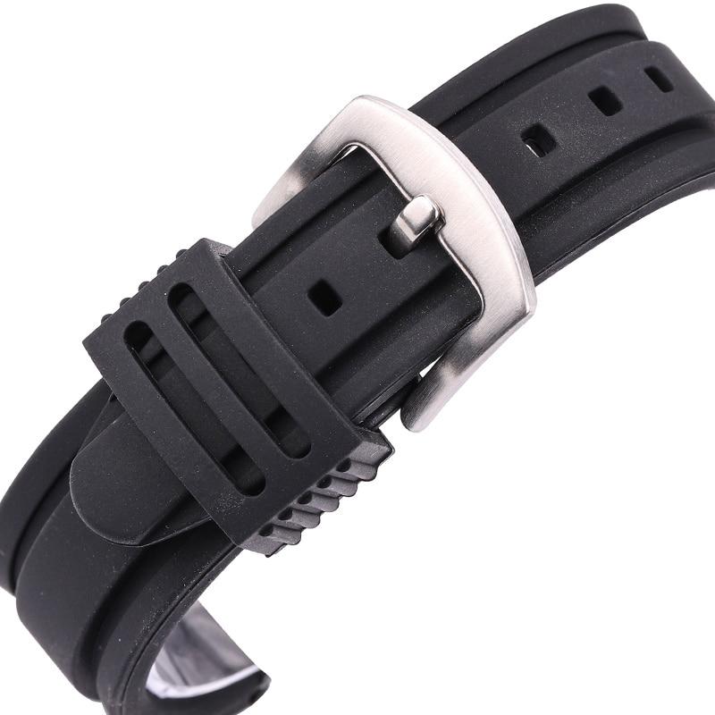 22mm 24mm Pulsera de caucho Pulsera deportiva Reloj de buceo suave Reloj de silicona Correa de banda Hebilla de metal de acero inoxidable