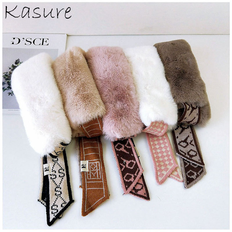 Kasure New Fashion Faux Rabbit Fur Collar Scarf For Women Winter Warm Skinny Knitted Neckerchief For Ladies Muffler
