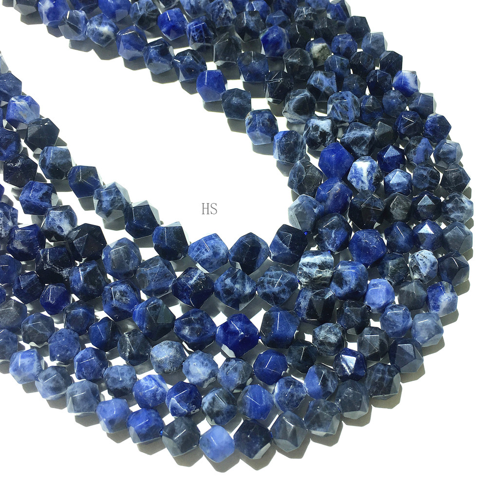 8 Strand Item SP367 Sodalite Large Faceted Nugget Beads
