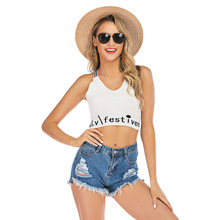 цена на Fashion Short Personality Backless Tank Top Female Letter Print Back Cross Camisole