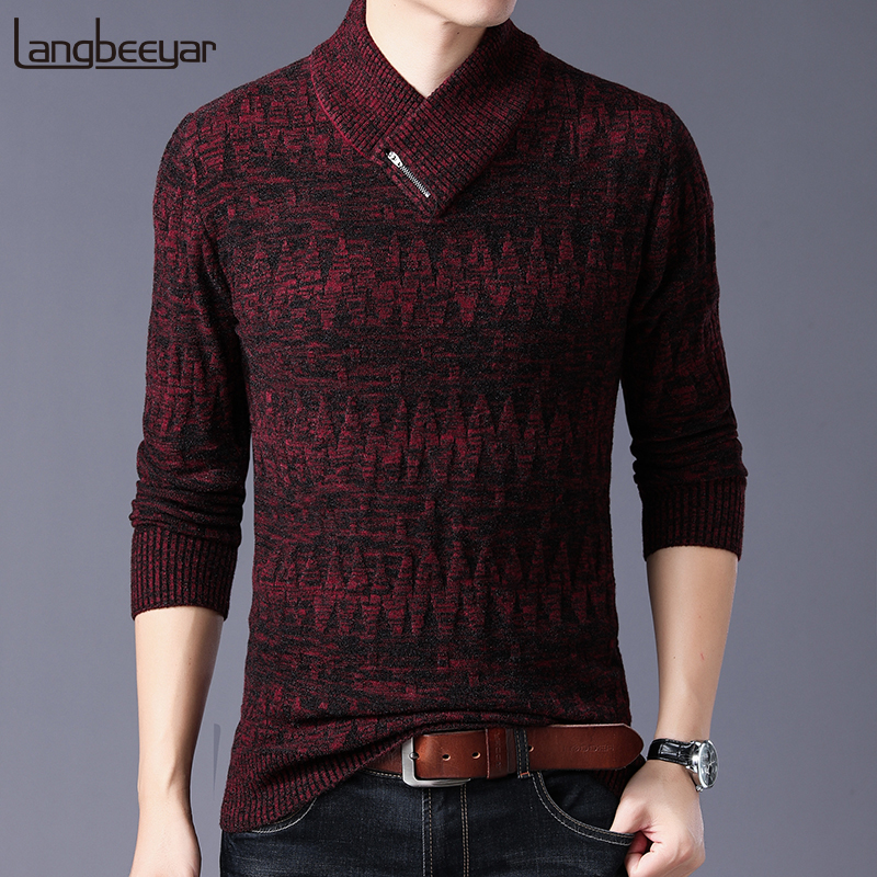 2019 Thick New Fashion Brand Sweaters Man Pullovers Slim Fit Jumpers Knitwear Woolen Autumn Korean Style Casual Mens Clothes